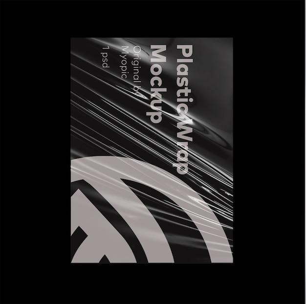Maqueta de póster de envoltura de plástico