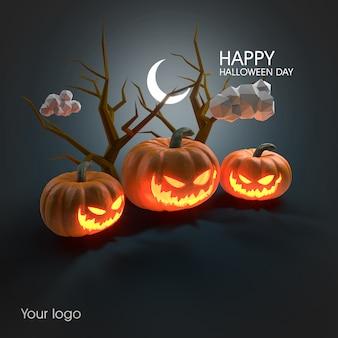 Maqueta de póster de halloween 3d