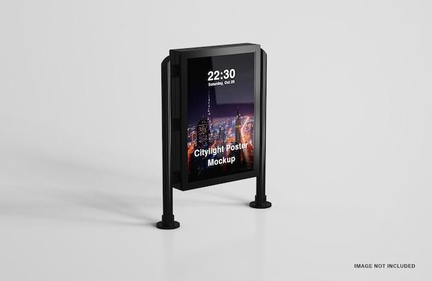 Maqueta de póster de luz de ciudad led digital