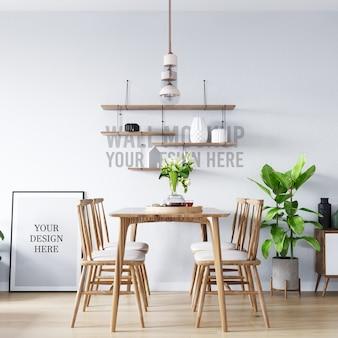 Maqueta de póster y maqueta de pared fondo de comedor interior