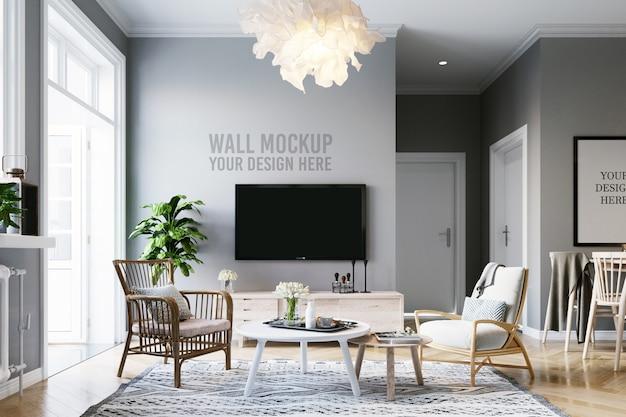 Maqueta de póster y maqueta de pared fondo de sala de estar escandinava interior