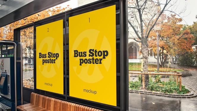 Maqueta de póster de parada de autobús