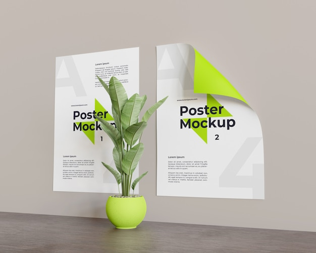 Maqueta de póster con planta en el centro mira en la vista derecha
