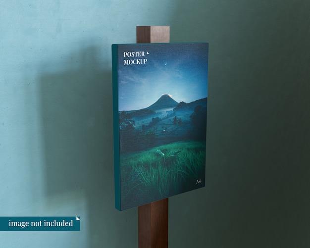 Maqueta de póster premium con bloque de madera