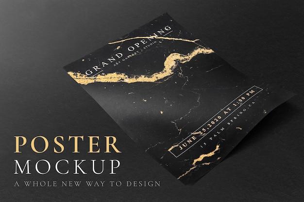 Maqueta de póster psd en negro y dorado.
