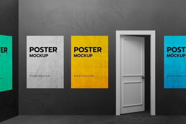 Maqueta de póster publicitario de impresión de sala de pared negra
