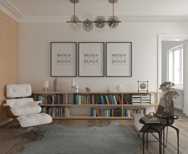 Maqueta de póster en sala de estar moderna clásica.