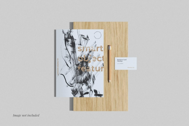 Maqueta de póster y tarjeta de presentación vista superior