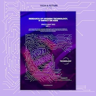 Maqueta de póster de tecnología y concepto futuro