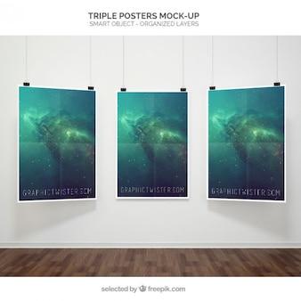Maqueta de poster triple