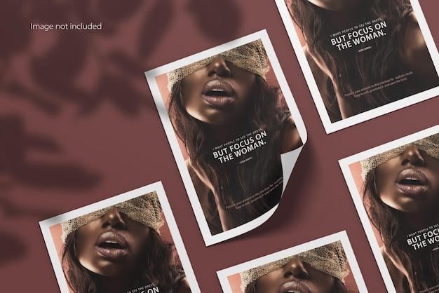 Maqueta de póster de volante a4 con sombra