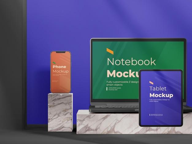 Maqueta de presentación de dispositivos digitales modernos