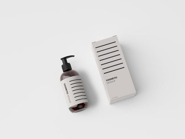 Maqueta de presentación de envases de botellas cosméticas