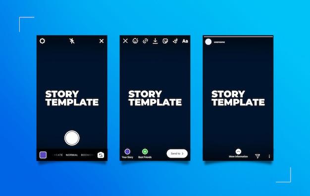 Maqueta del proceso de publicación de historias de instagram