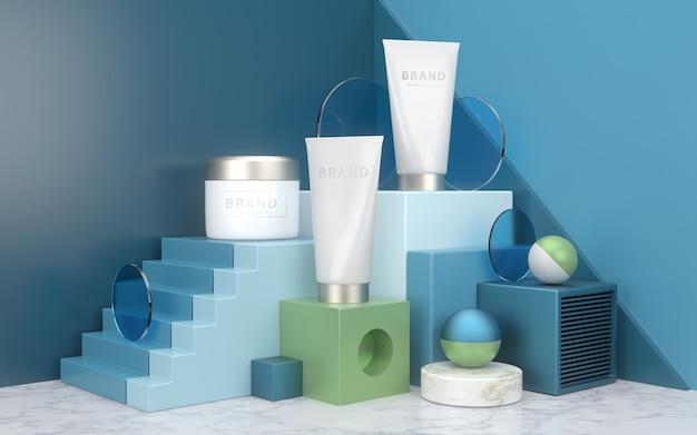 Maqueta de productos cosméticos colocada en escena mínima con podio