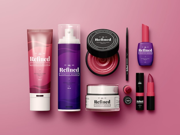 Maqueta de productos cosméticos