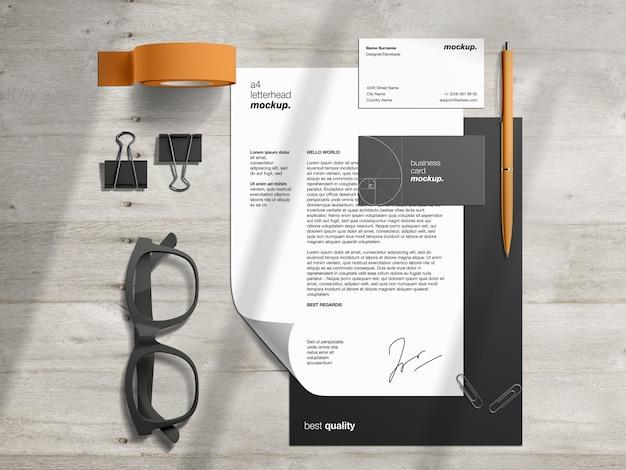 Maqueta profesional de papelería de identidad corporativa con membrete y tarjetas de visita