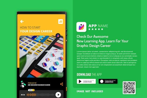 Maqueta de promoción de aplicaciones para teléfonos inteligentes, logotipo y botones de descarga con escaneo de código qr