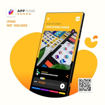 Maqueta de promoción de aplicaciones para teléfonos inteligentes, maqueta de logotipo con código qr de escaneo