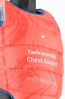 Maqueta de protector de pecho de taekwondo, primer plano