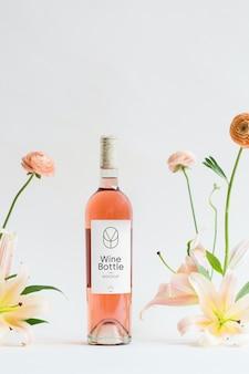Maqueta psd de botella de vino