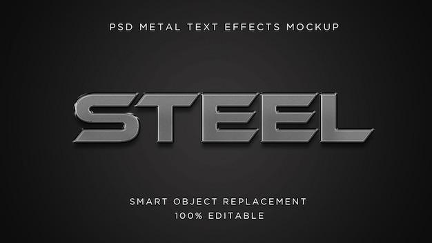Maqueta psd de efecto de texto 3d de acero