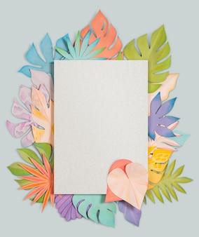 Maqueta de psd de marco de hoja de papel artesanal
