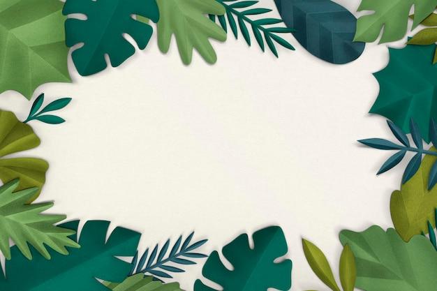 Maqueta de psd de marco de hoja verde en estilo artesanal de papel