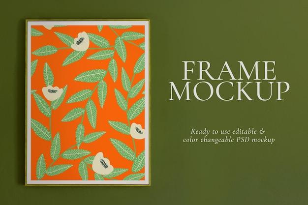 Maqueta psd de marco de imagen floral en estilo retro