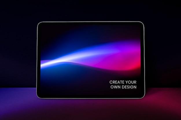 Maqueta psd de tableta digital con estilo retro futurismo