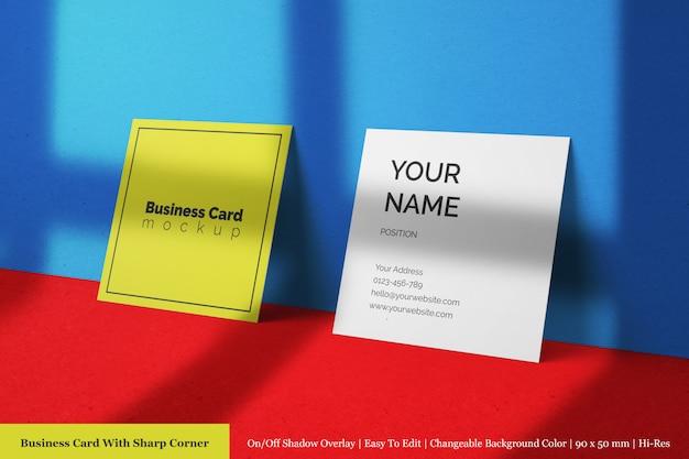 Maqueta psd de tarjeta de visita corporativa con textura realista de tamaño cuadrado dos