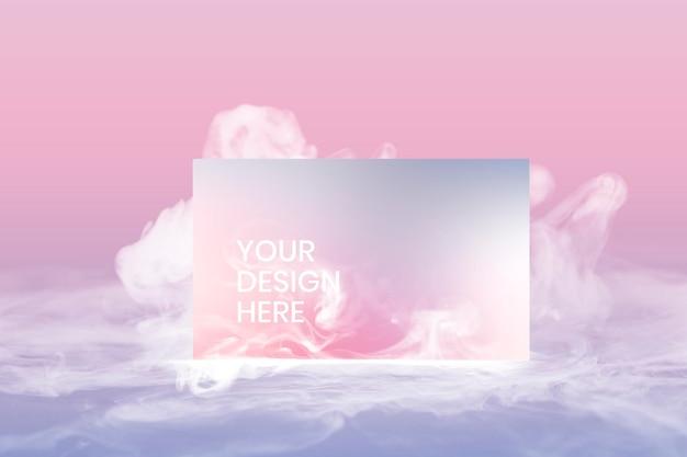 Maqueta psd de tarjeta de visita, humo pastel con espacio de diseño