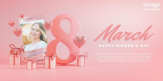 Maqueta de publicación de instagram 8 de marzo feliz día de la mujer amor corazón vaso