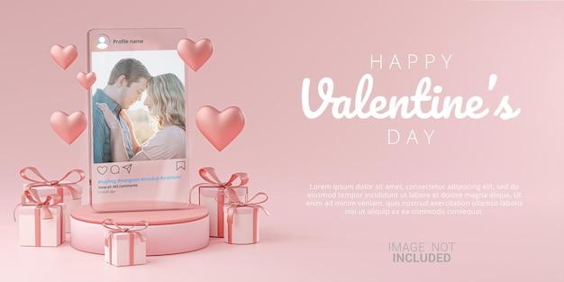 Maqueta de publicación de instagram en plantilla de vidrio banner boda de san valentín