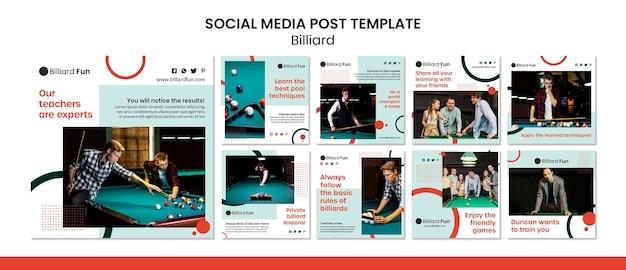 Maqueta de publicación de redes sociales de concepto de billar