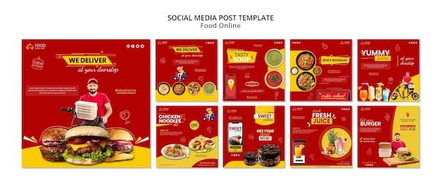 Maqueta de publicación de redes sociales de concepto de comida en línea