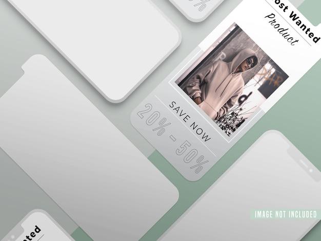 Maqueta de publicación en redes sociales de instagram fashion