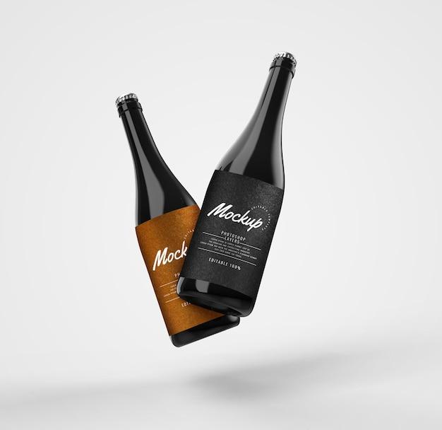 Maqueta de publicidad de botella de vidrio negro