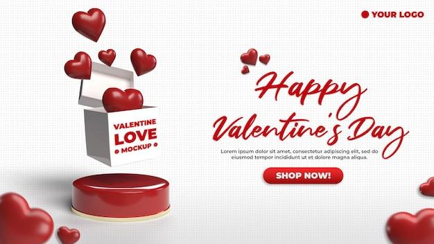 Maqueta de publicidad de san valentín de banner de sitio web 3d de redes sociales