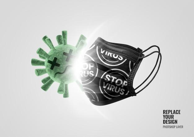 Maqueta de publicidad de virus de ataque de máscara negra