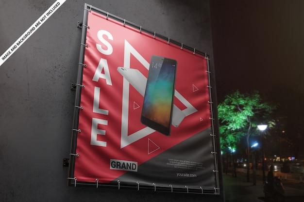 Maqueta publicitaria de banner cuadrado de vinilo