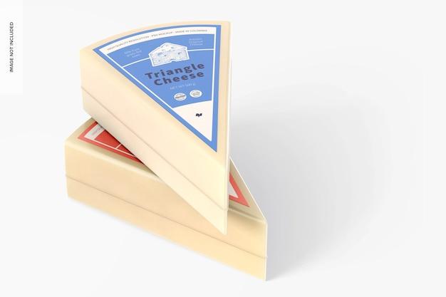 Maqueta de queso triangular, apilada
