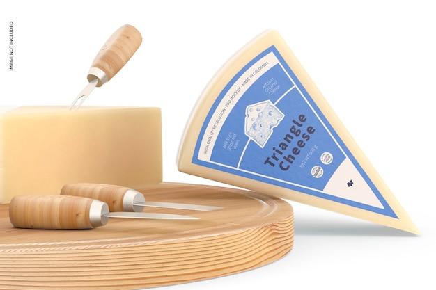 Maqueta de queso triangular, inclinada