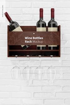 Maqueta de rack de botellas de vino, vista frontal