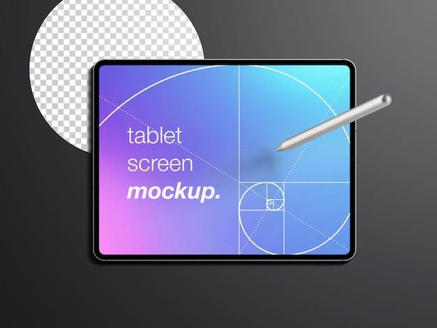 Maqueta realista aislada de la pantalla del dispositivo de tableta con lápiz óptico
