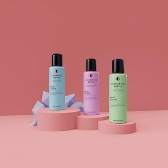 Maqueta realista de escena de exhibición de tres botellas cosméticas