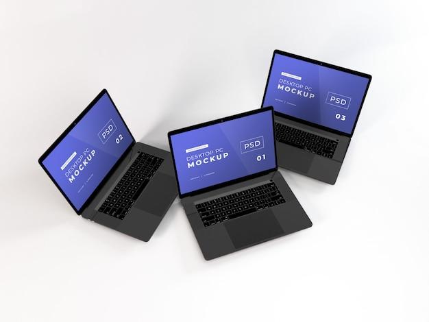 Maqueta realista de laptops