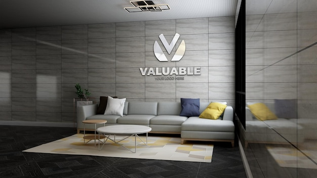 Maqueta realista del logotipo de la empresa en 3d en la moderna sala de espera del vestíbulo de la oficina
