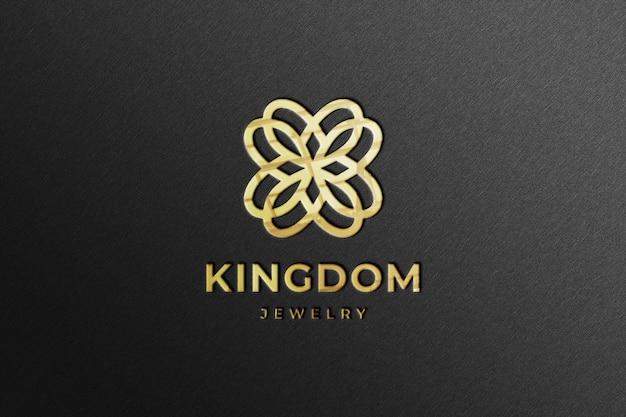 Maqueta realista del logotipo de la empresa dorada con reflejo