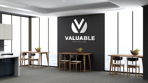 Maqueta realista del logotipo de la pared 3d en la cantina de la oficina